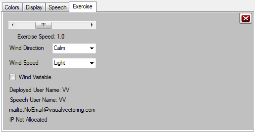 Exercise Tab of Setup Window
