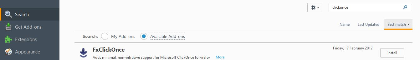 FxClickOnce add-on for Firefox
