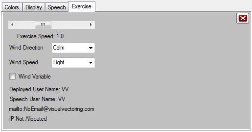 Exercise Tab of Setup Window